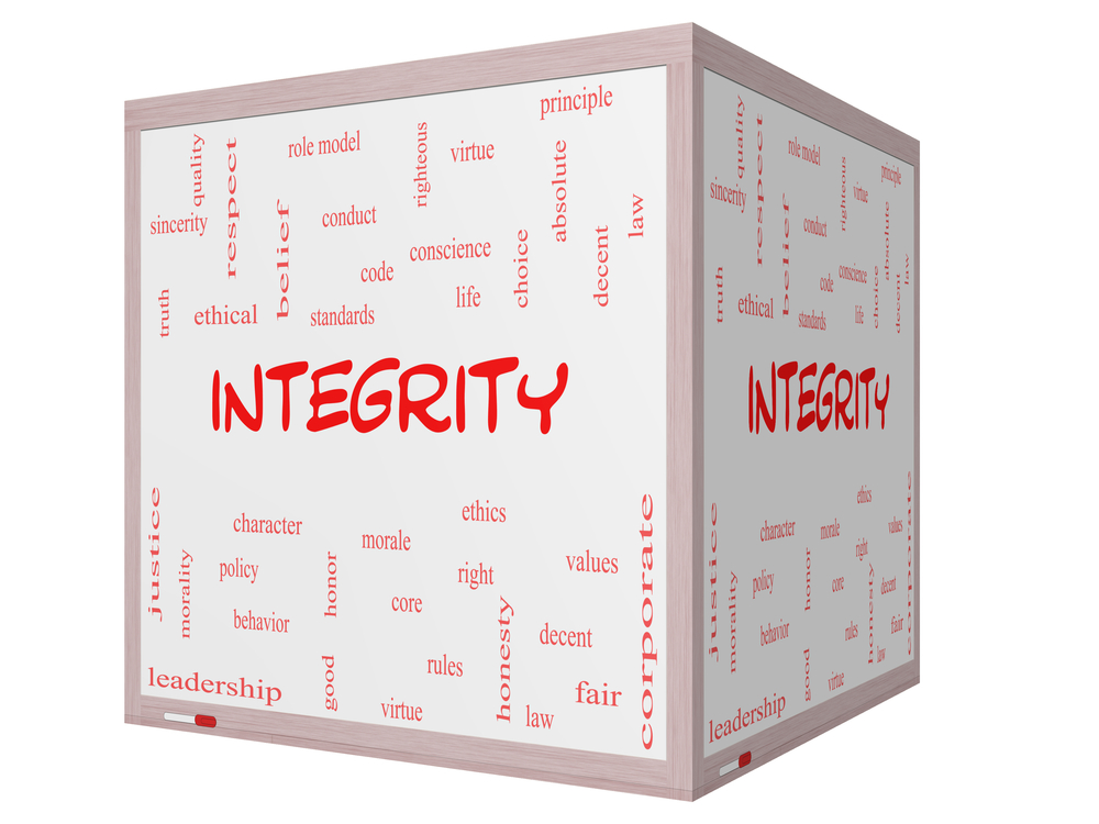 Integrity Word Cloud Concept on a 3D cube Whiteboard with great terms such as virtue, code, conduct and more.